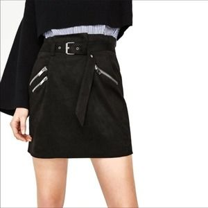 Zara Basic Belted Paper Bag Faux Suede Skirt S EUC
